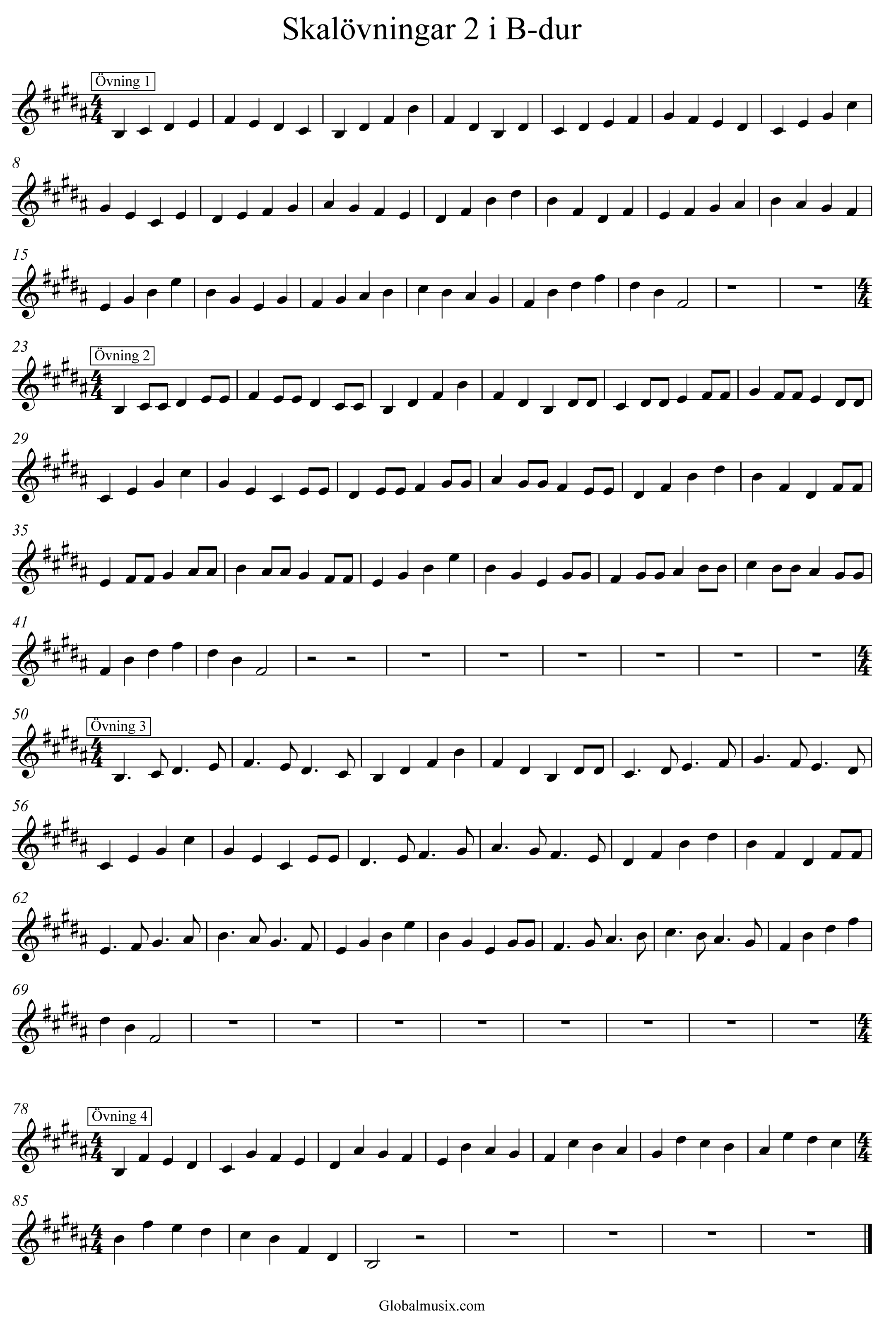 Enkla skalövningar 1 i B-dur