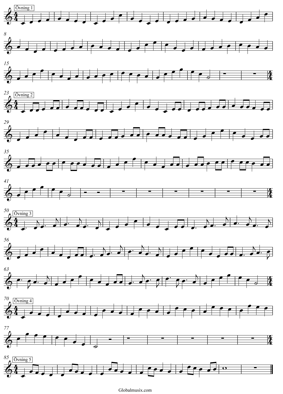 Enkla skalövningar i C-dur