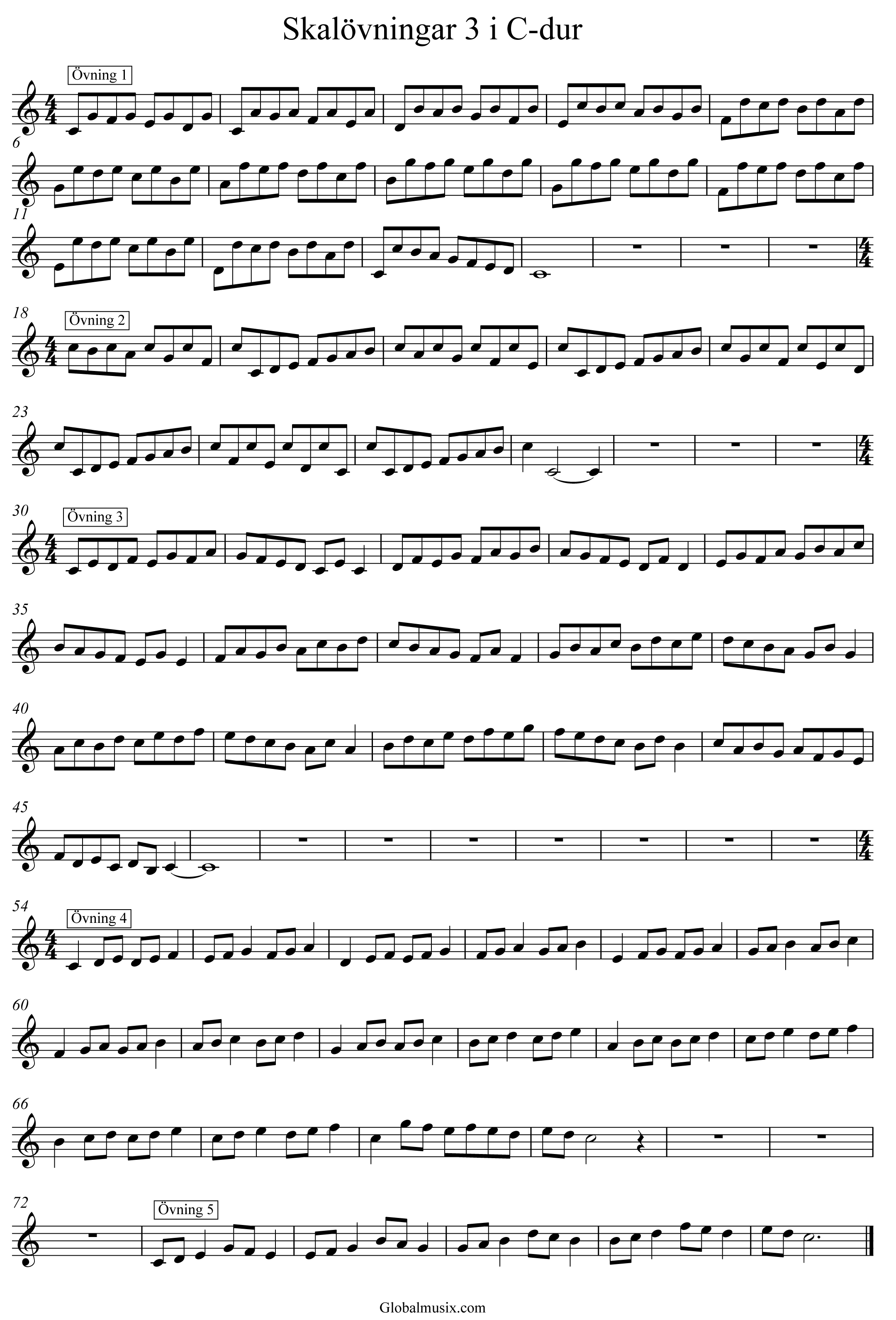 Enkla skalövningar 2 i C-dur